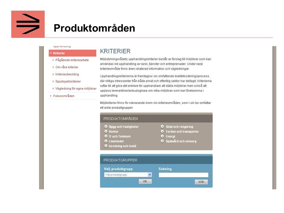 Produktområden