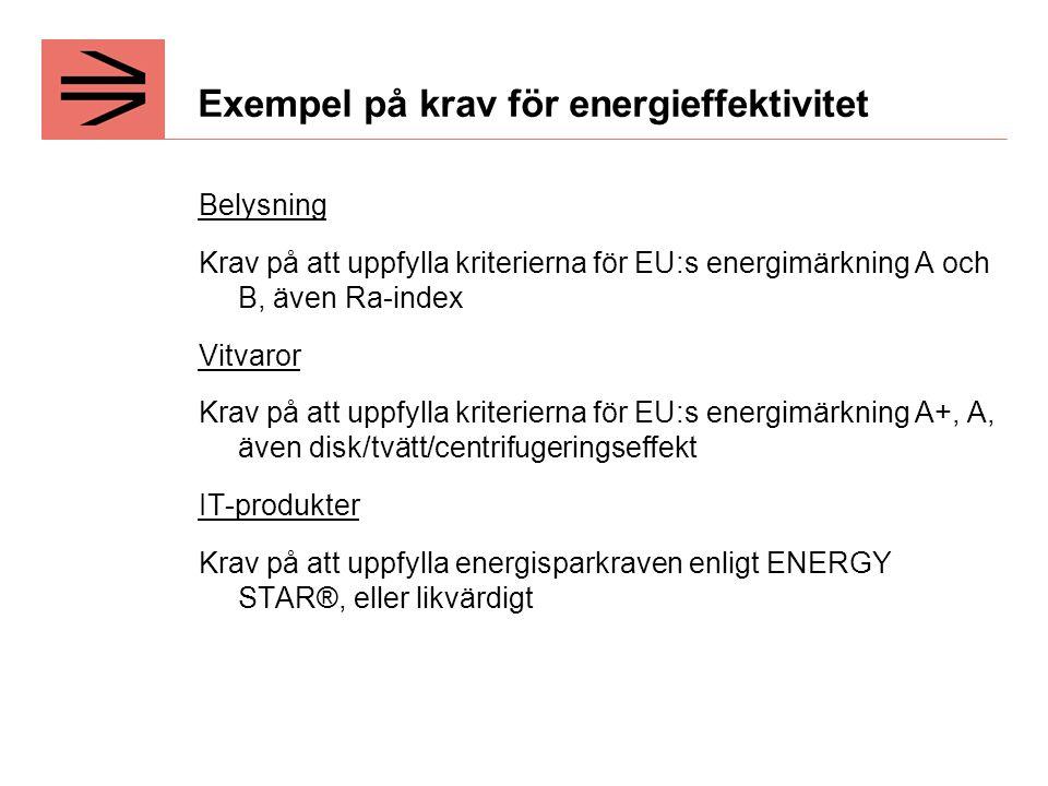 Exempel på krav för energieffektivitet Belysning Krav på att uppfylla kriterierna för EU:s energimärkning A och B, även Ra-index Vitvaror Krav på att uppfylla kriterierna för EU:s energimärkning A+, A, även disk/tvätt/centrifugeringseffekt IT-produkter Krav på att uppfylla energisparkraven enligt ENERGY STAR®, eller likvärdigt