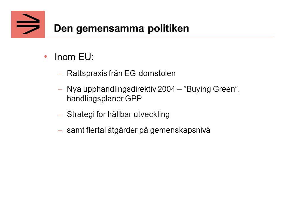 Den gemensamma politiken Inom EU: –Rättspraxis från EG-domstolen –Nya upphandlingsdirektiv 2004 – Buying Green , handlingsplaner GPP –Strategi för hållbar utveckling –samt flertal åtgärder på gemenskapsnivå