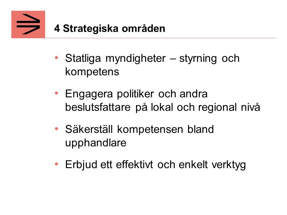 4 Strategiska områden Statliga myndigheter – styrning och kompetens Engagera politiker och andra beslutsfattare på lokal och regional nivå Säkerställ kompetensen bland upphandlare Erbjud ett effektivt och enkelt verktyg
