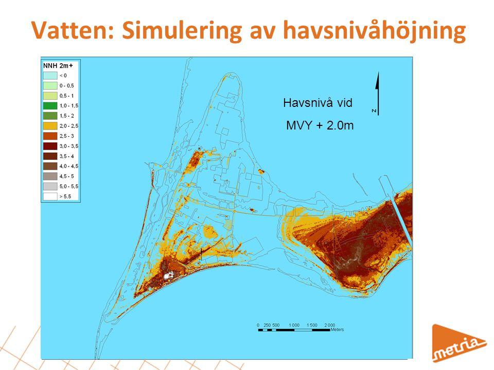 Havsnivå vid medelvattenyta (MVY) Havsnivå vid MVY + 1.0m Havsnivå vid MVY + 1.5m Vatten: Simulering av havsnivåhöjning Havsnivå vid MVY + 2.0m