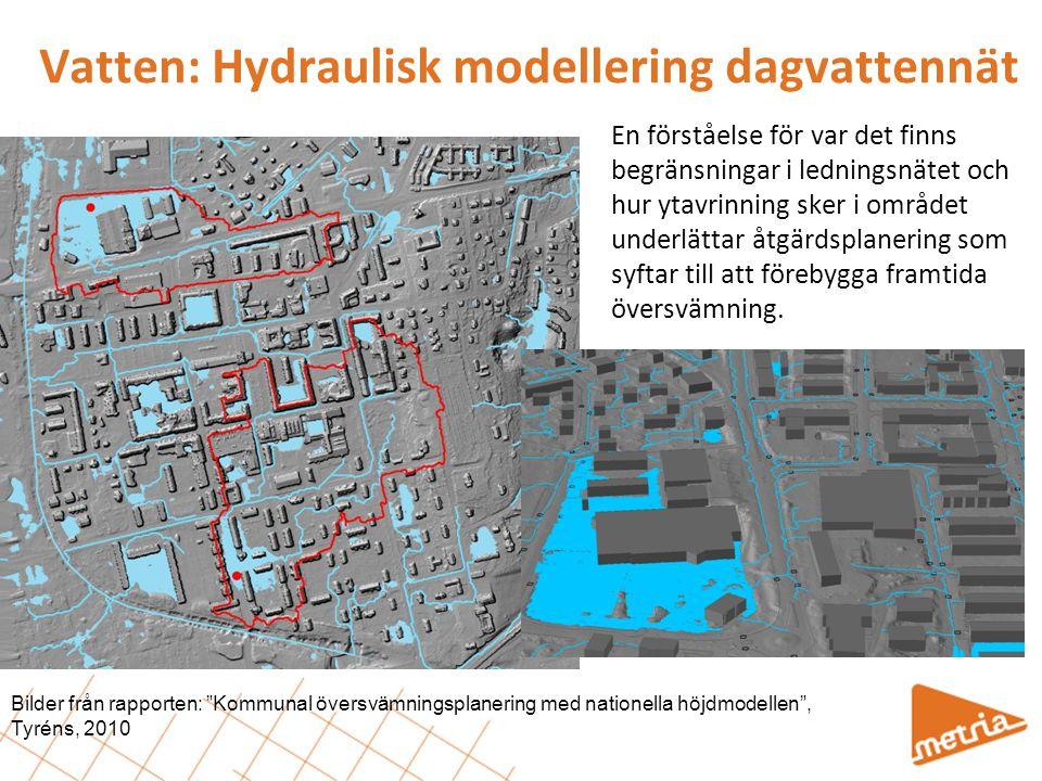 Vatten: Hydraulisk modellering dagvattennät En förståelse för var det finns begränsningar i ledningsnätet och hur ytavrinning sker i området underlätt