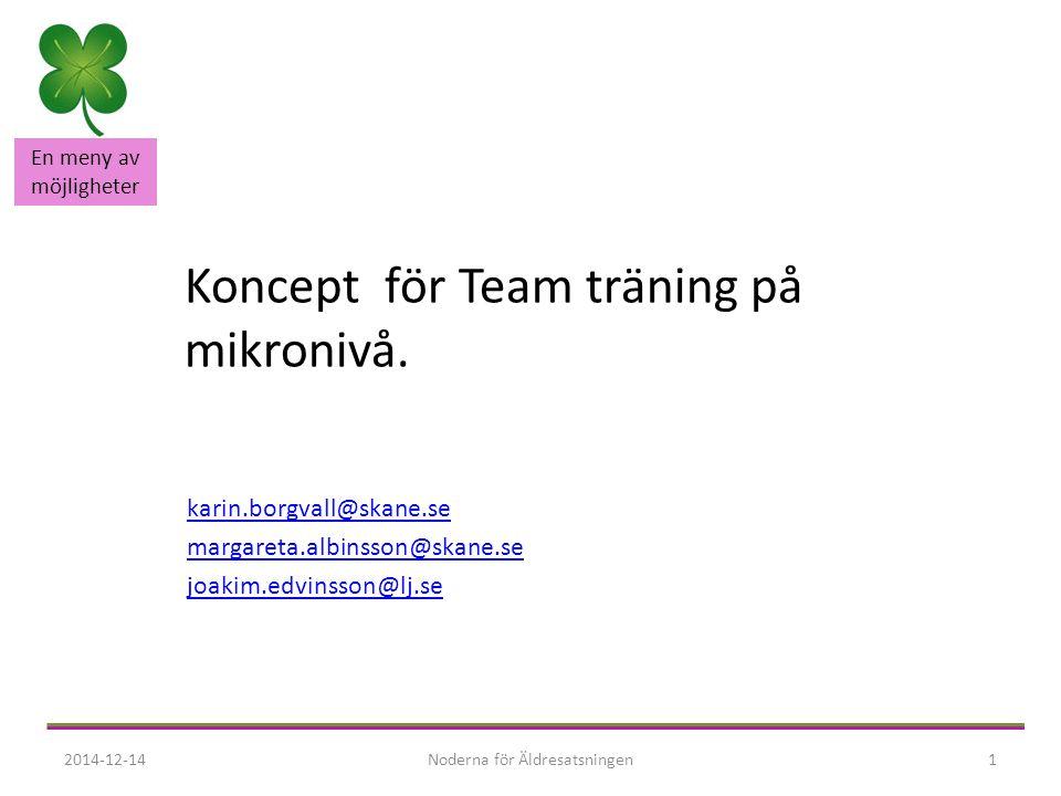 En meny av möjligheter Team träning på mikronivå Att gå från ord till handling Att flytta fokus från läns nivå till kommun nivå Systematiskt arbeta från ett nu läge till ett bör läge