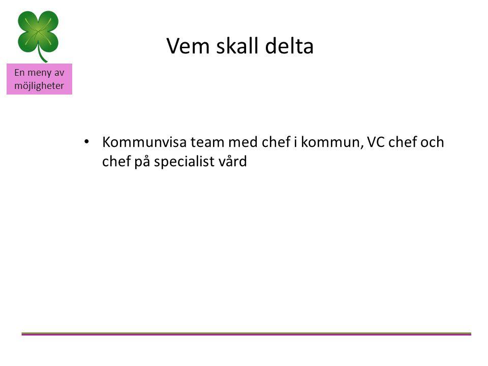 En meny av möjligheter Vem skall delta Kommunvisa team med chef i kommun, VC chef och chef på specialist vård
