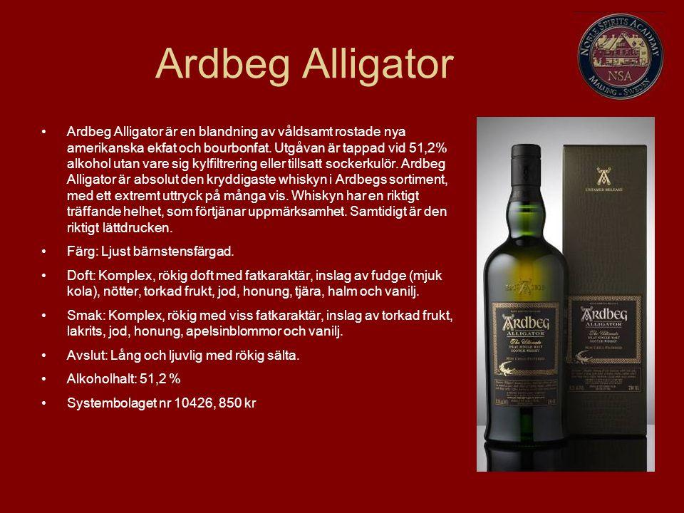 Ardbeg Alligator Ardbeg Alligator är en blandning av våldsamt rostade nya amerikanska ekfat och bourbonfat.