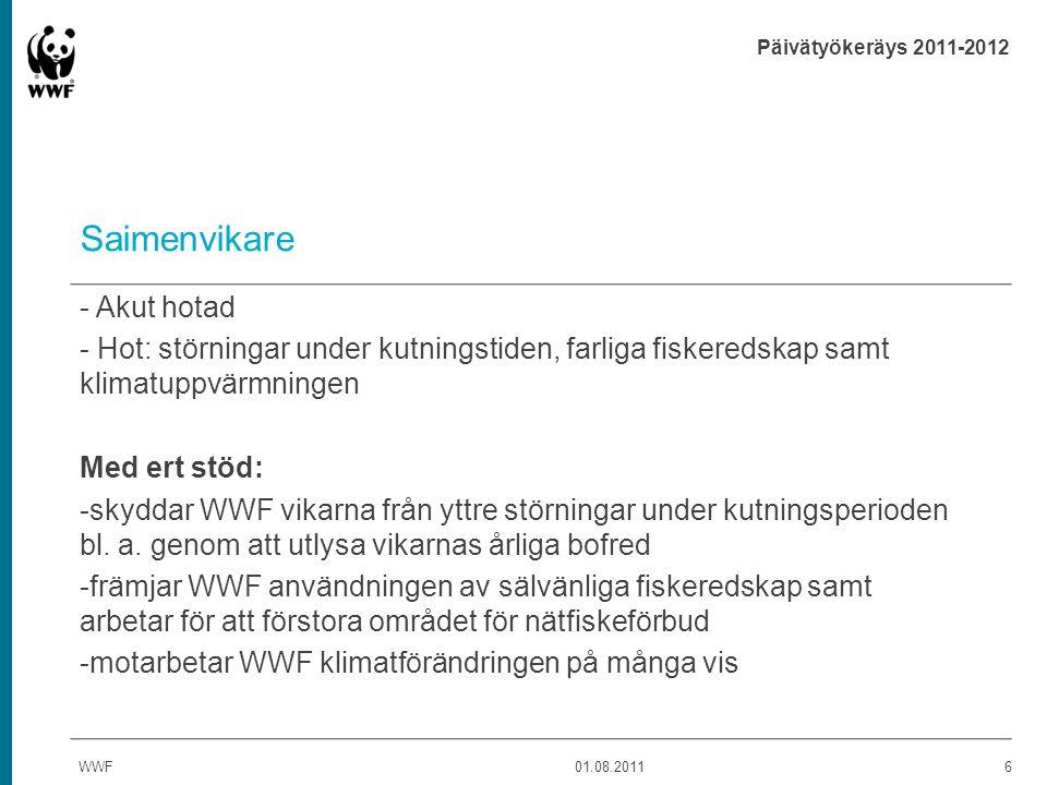 Päivätyökeräys 2011-2012 Saimenvikare - Akut hotad - Hot: störningar under kutningstiden, farliga fiskeredskap samt klimatuppvärmningen Med ert stöd: -skyddar WWF vikarna från yttre störningar under kutningsperioden bl.
