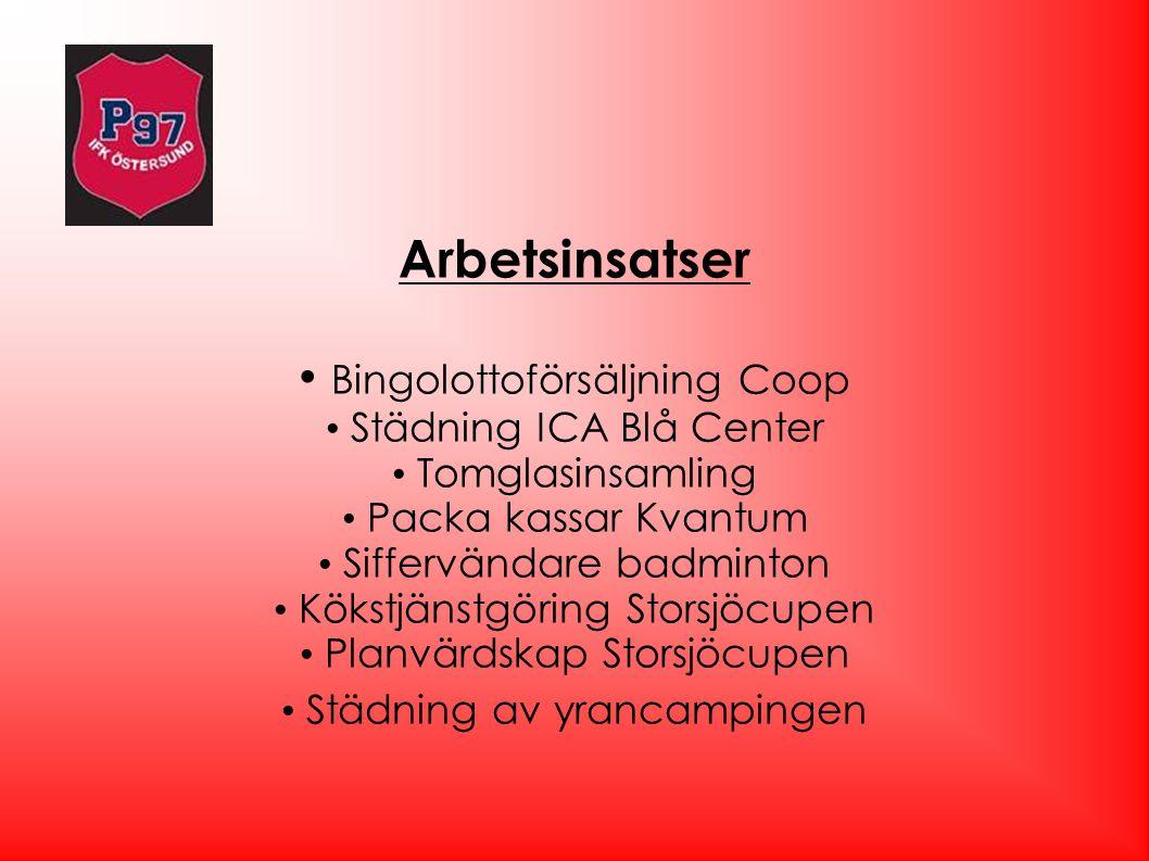 Arbetsinsatser Bingolottoförsäljning Coop Städning ICA Blå Center Tomglasinsamling Packa kassar Kvantum Siffervändare badminton Kökstjänstgöring Stors