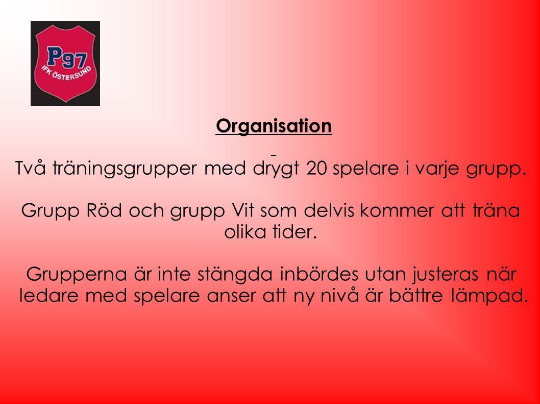 Organisation Två träningsgrupper med drygt 20 spelare i varje grupp. Grupp Röd och grupp Vit som delvis kommer att träna olika tider. Grupperna är int