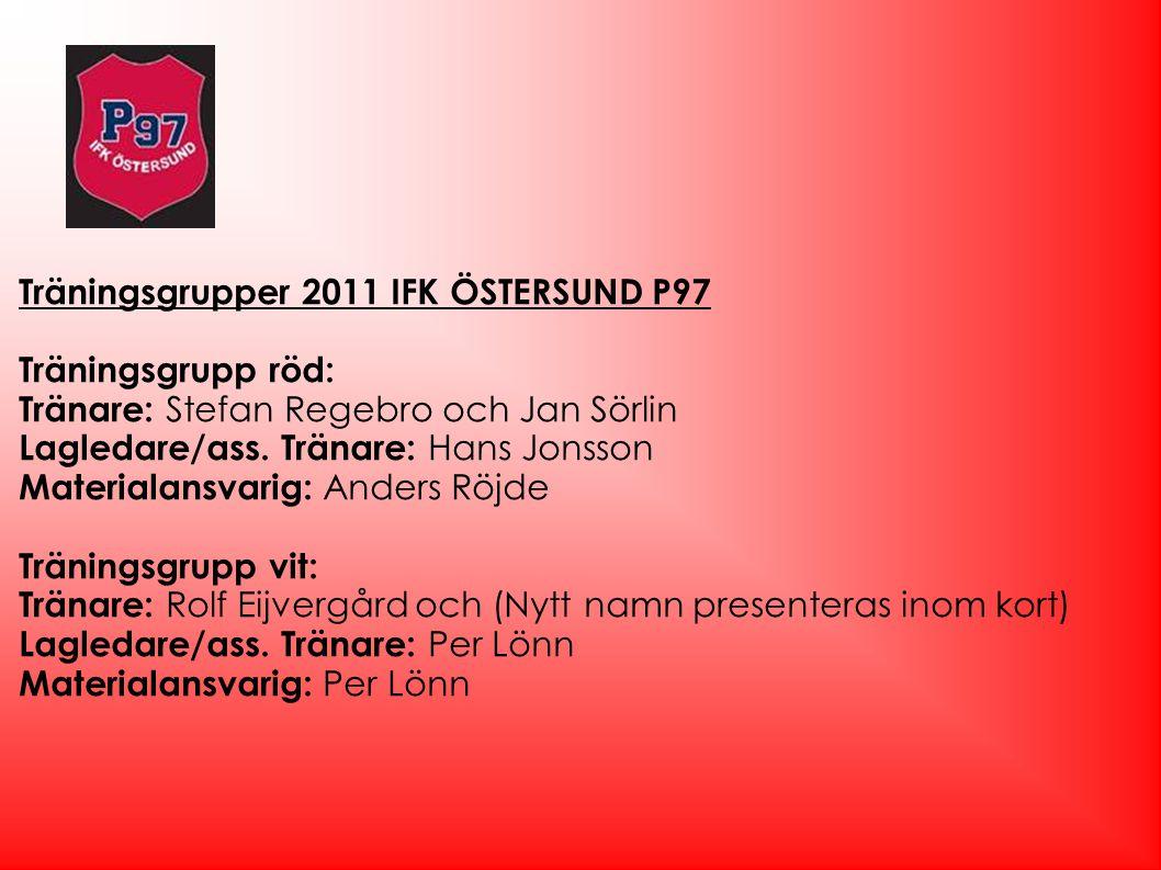 Träningsgrupper 2011 IFK ÖSTERSUND P97 Träningsgrupp röd: Tränare: Stefan Regebro och Jan Sörlin Lagledare/ass. Tränare: Hans Jonsson Materialansvarig