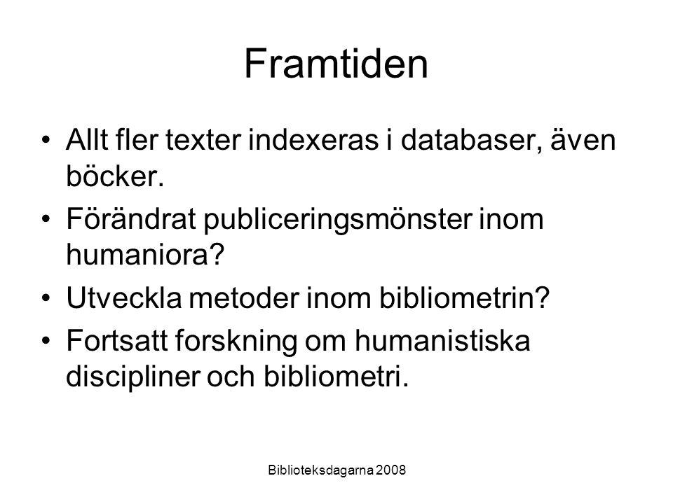 Biblioteksdagarna 2008 Framtiden Allt fler texter indexeras i databaser, även böcker. Förändrat publiceringsmönster inom humaniora? Utveckla metoder i