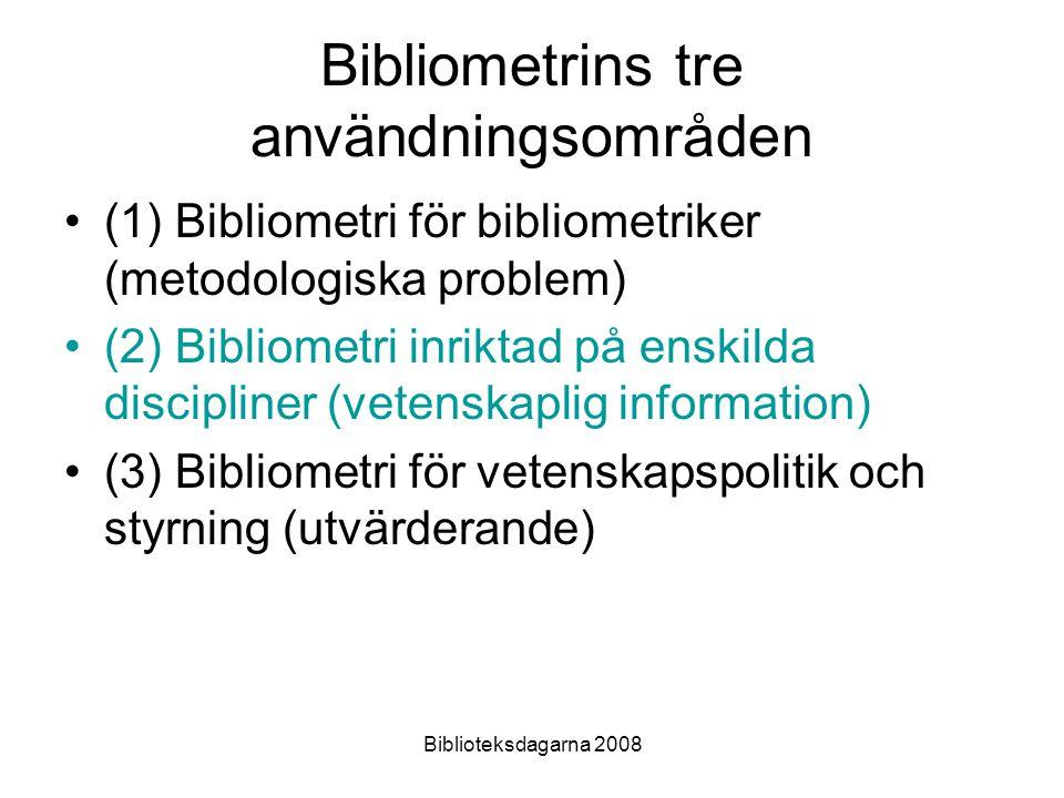 Biblioteksdagarna 2008 Bibliometrins tre användningsområden (1) Bibliometri för bibliometriker (metodologiska problem) (2) Bibliometri inriktad på ens
