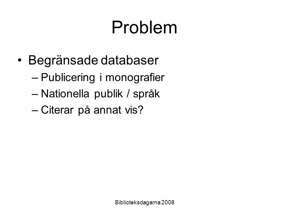 Biblioteksdagarna 2008 Metod Urval av 38 litteraturtidskrifter i Web of Science 11855 artiklar från åren 1996-2006 analyserade och citeringar till författare räknades med hjälp av bibexcel (Persson 2007)