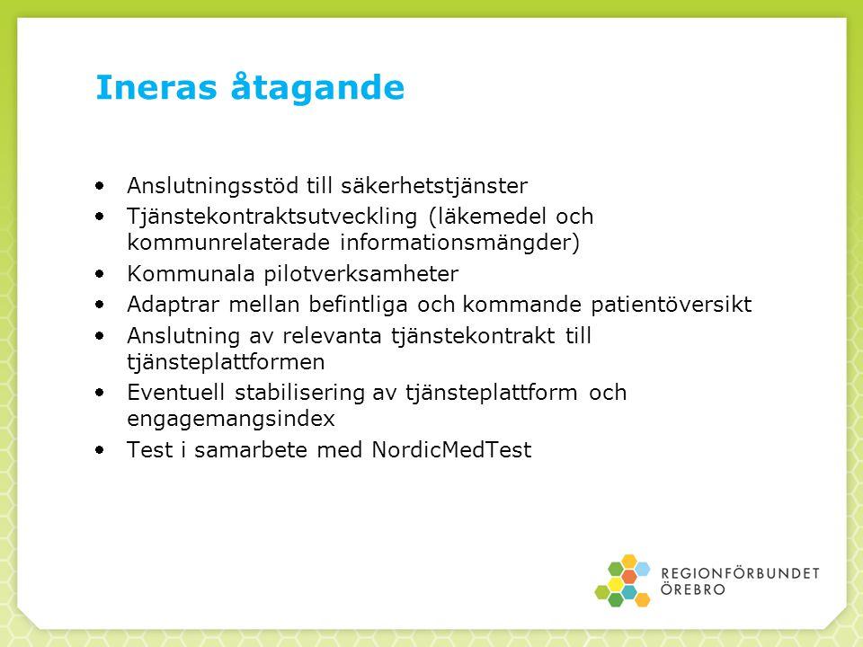 Ineras åtagande Anslutningsstöd till säkerhetstjänster Tjänstekontraktsutveckling (läkemedel och kommunrelaterade informationsmängder) Kommunala pilotverksamheter Adaptrar mellan befintliga och kommande patientöversikt Anslutning av relevanta tjänstekontrakt till tjänsteplattformen Eventuell stabilisering av tjänsteplattform och engagemangsindex Test i samarbete med NordicMedTest