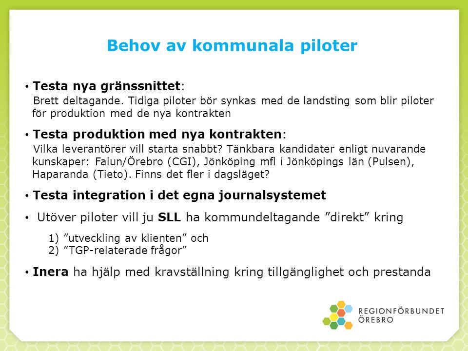 Behov av kommunala piloter Testa nya gränssnittet: Brett deltagande. Tidiga piloter bör synkas med de landsting som blir piloter för produktion med de