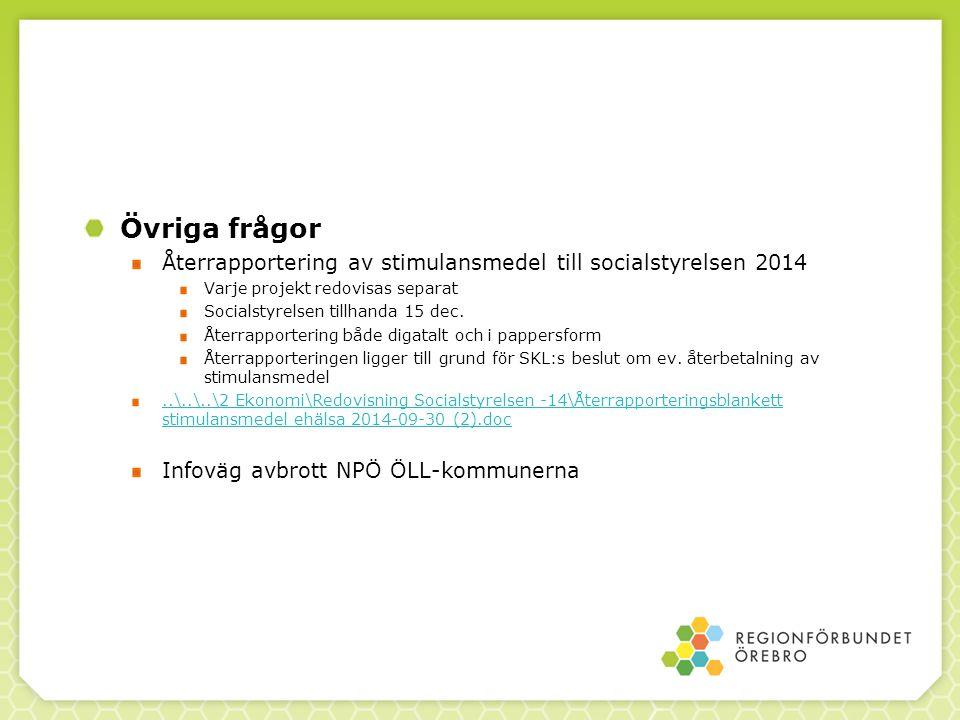 Övriga frågor Återrapportering av stimulansmedel till socialstyrelsen 2014 Varje projekt redovisas separat Socialstyrelsen tillhanda 15 dec.