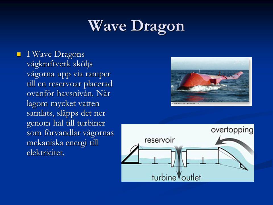 Wave Dragon I Wave Dragons vågkraftverk sköljs vågorna upp via ramper till en reservoar placerad ovanför havsnivån. När lagom mycket vatten samlats, s