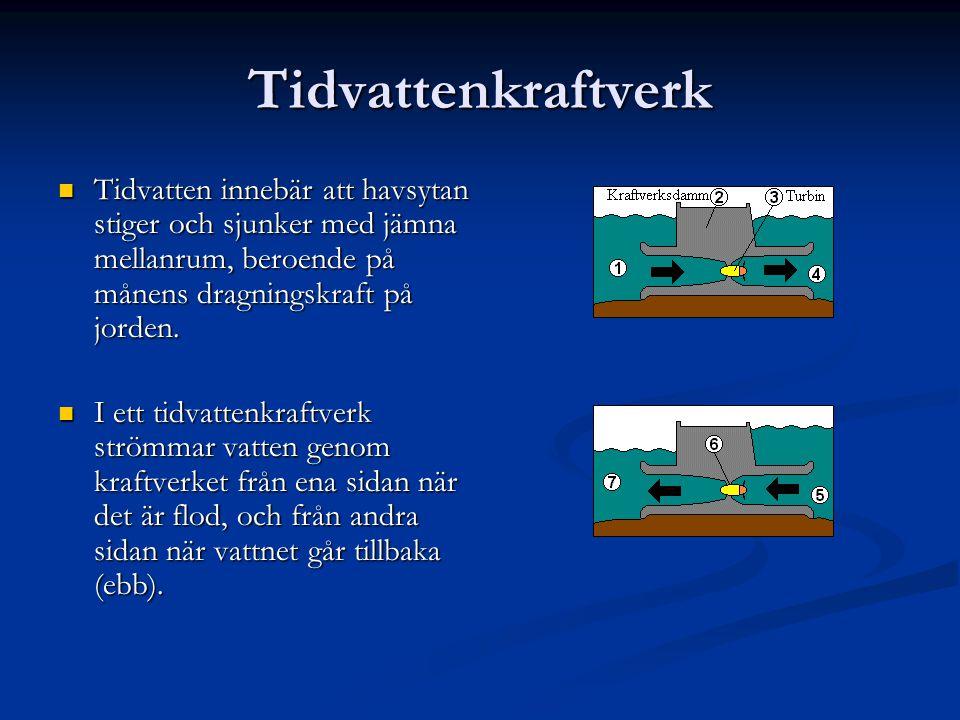 Tidvattenkraftverk Tidvatten innebär att havsytan stiger och sjunker med jämna mellanrum, beroende på månens dragningskraft på jorden. Tidvatten inneb