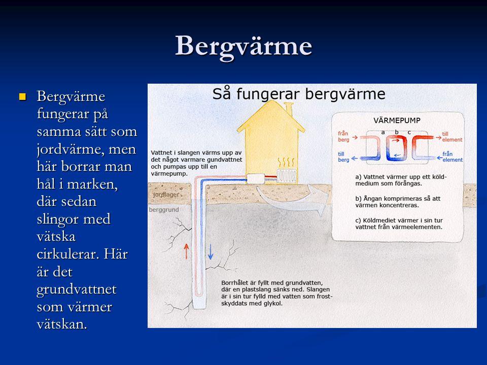 Bergvärme Bergvärme fungerar på samma sätt som jordvärme, men här borrar man hål i marken, där sedan slingor med vätska cirkulerar. Här är det grundva
