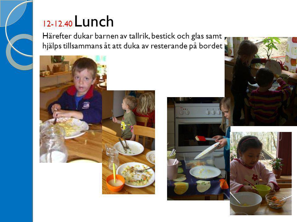 12-12.40 Lunch Härefter dukar barnen av tallrik, bestick och glas samt hjälps tillsammans åt att duka av resterande på bordet