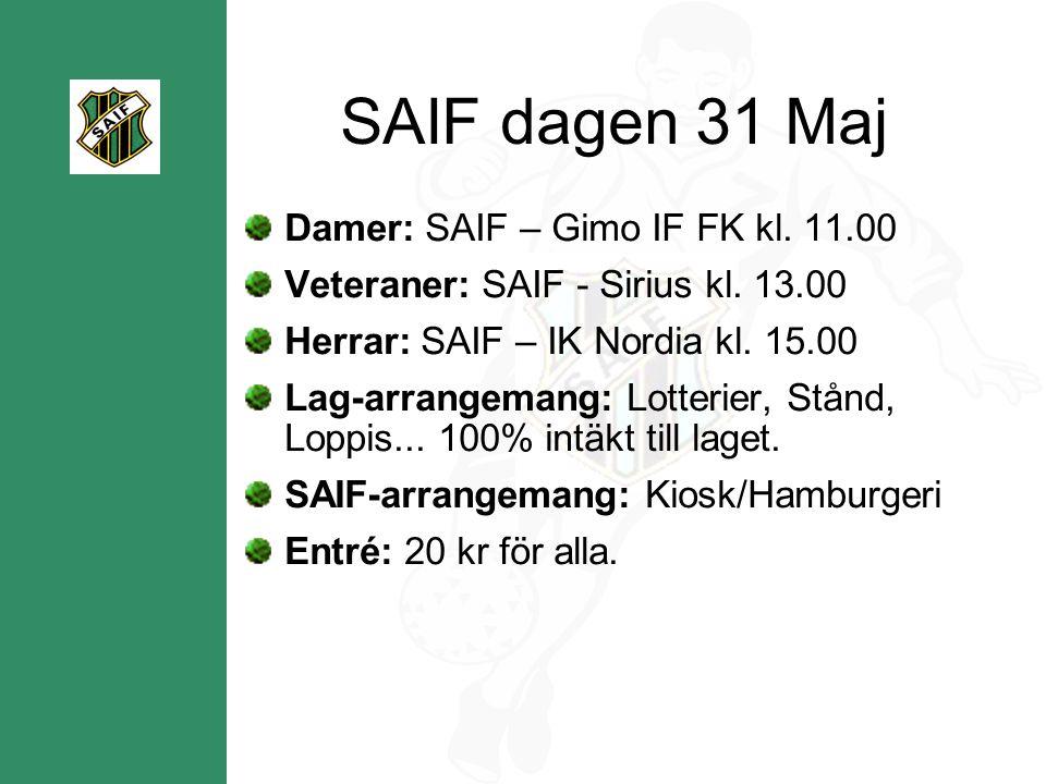 SAIF dagen 31 Maj Damer: SAIF – Gimo IF FK kl. 11.00 Veteraner: SAIF - Sirius kl.