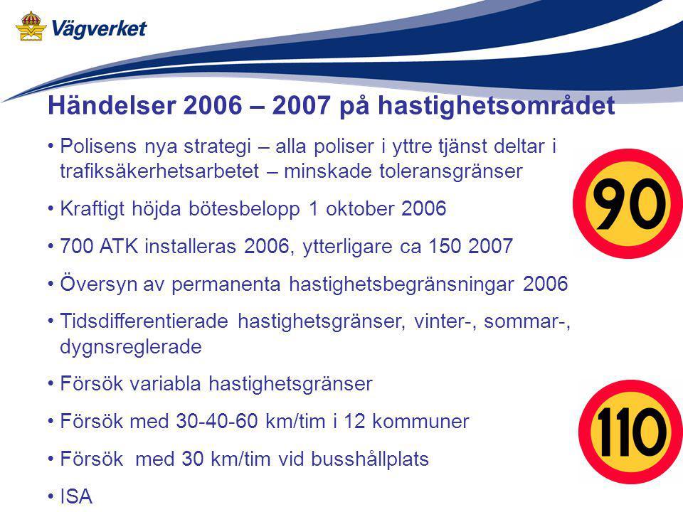 Händelser 2006 – 2007 på hastighetsområdet Polisens nya strategi – alla poliser i yttre tjänst deltar i trafiksäkerhetsarbetet – minskade toleransgrän