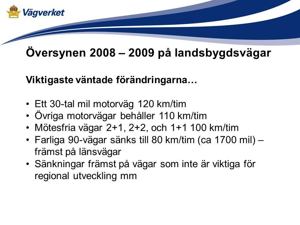 Översynen 2008 – 2009 på landsbygdsvägar Viktigaste väntade förändringarna… Ett 30-tal mil motorväg 120 km/tim Övriga motorvägar behåller 110 km/tim M