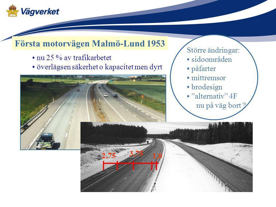 """Första motorvägen Malmö-Lund 1953 Större ändringar: sidoområden påfarter mittremsor brodesign """"alternativ"""" 4F nu på väg bort ? 2,75 3,75 1,0 nu 25 % a"""
