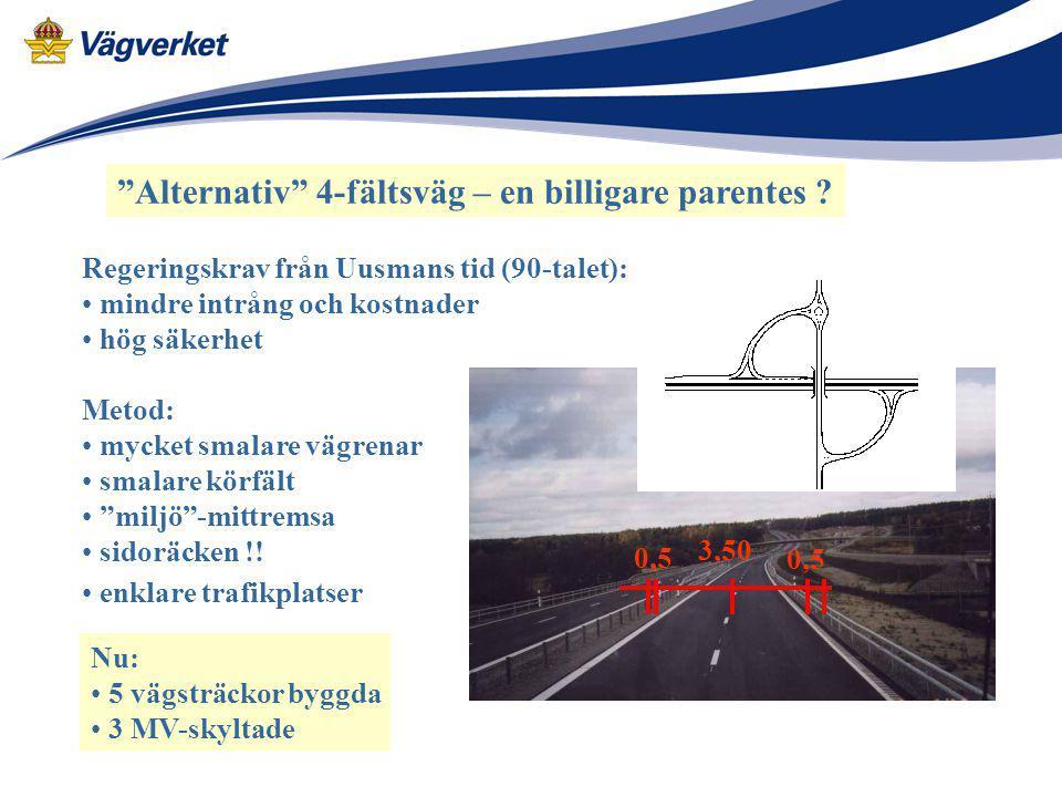 """""""Alternativ"""" 4-fältsväg – en billigare parentes ? Regeringskrav från Uusmans tid (90-talet): mindre intrång och kostnader hög säkerhet Metod: mycket s"""