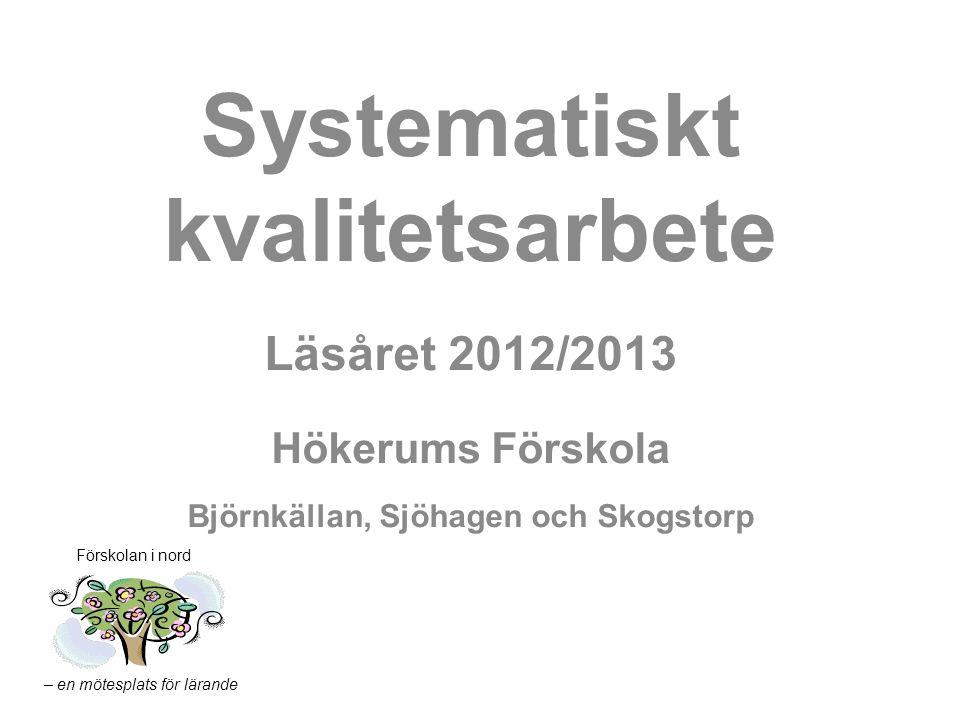 – en mötesplats för lärande Förskolan i nord Systematiskt kvalitetsarbete Läsåret 2012/2013 Hökerums Förskola Björnkällan, Sjöhagen och Skogstorp