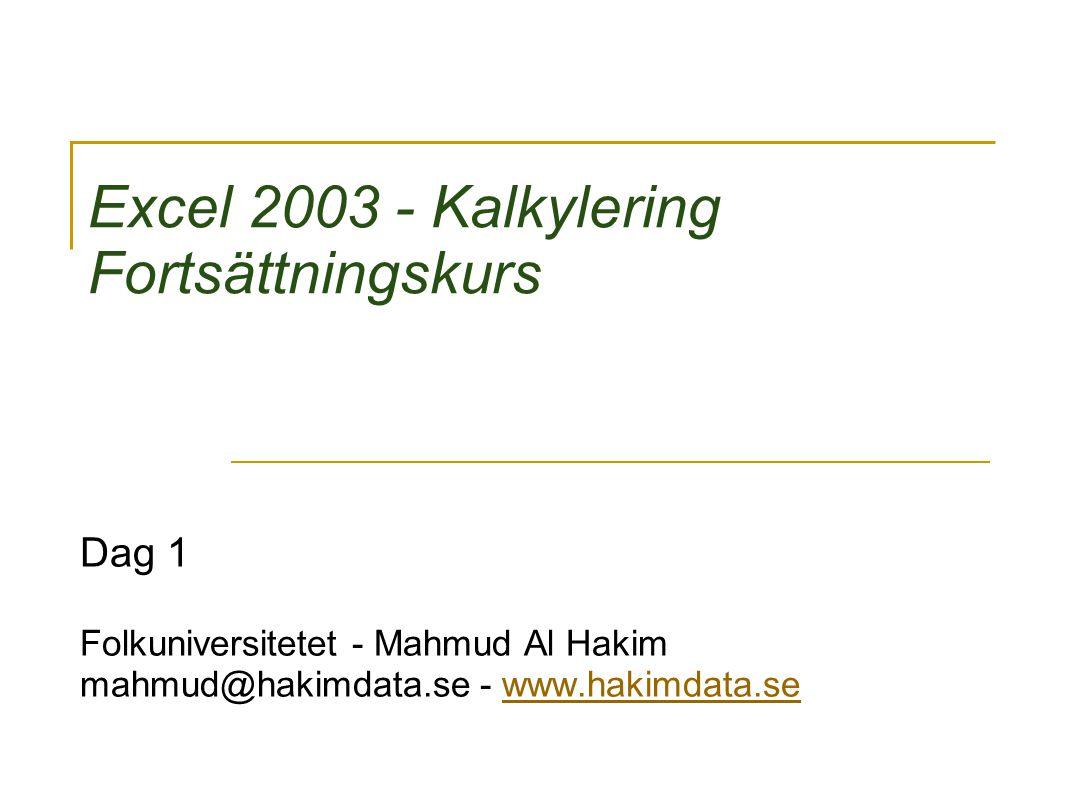 Copyright 2009, Mahmud Al Hakim, www.hakimdata.se 2 Agenda 9.00 – 10.15 Presentation av kursledare och deltagare Mål för kursen, Kursplanering och Kursinnehåll Kurslitteratur (referenslitteratur).