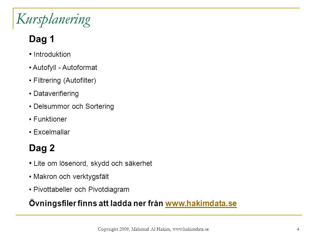 Copyright 2009, Mahmud Al Hakim, www.hakimdata.se 25 Funktionen SLUTVÄRDE Funktionen SLUTVÄRDE räknar ut totalkostnaden för en investering som är köpt på avbetalning.