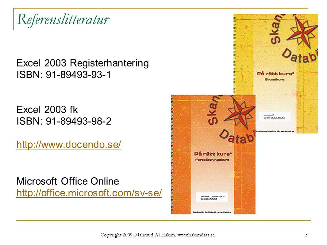 Copyright 2009, Mahmud Al Hakim, www.hakimdata.se 26 Övning: slutvärde.xls 26