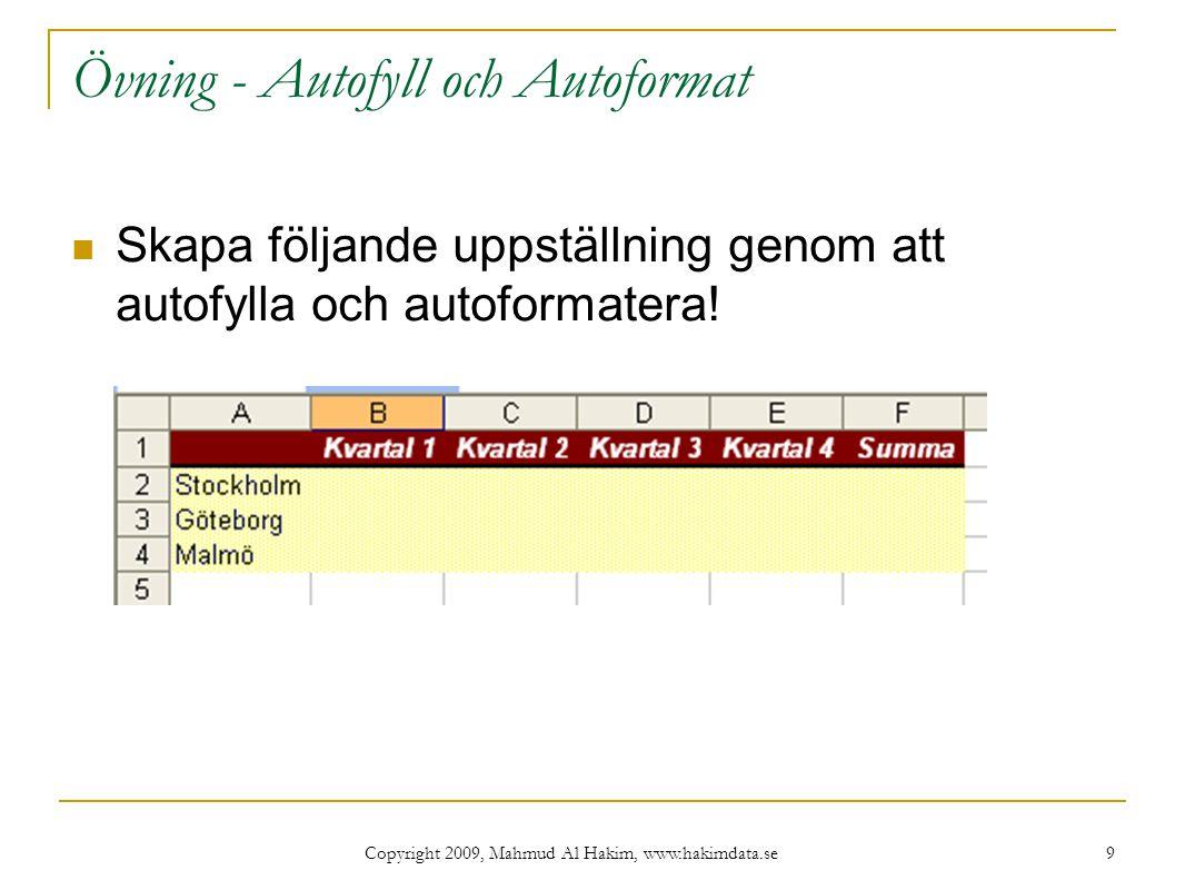 Copyright 2009, Mahmud Al Hakim, www.hakimdata.se 10 Filtrering (Autofilter) Med Autofilter kan du filtrera informationen i Excel så att bara den information som du behöver visas.