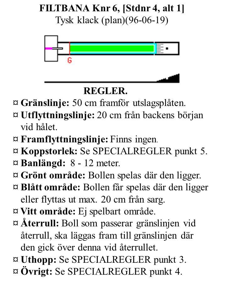 FILTBANA Knr 6, [Stdnr 4, alt 1] Tysk klack (plan)(96-06-19) REGLER.