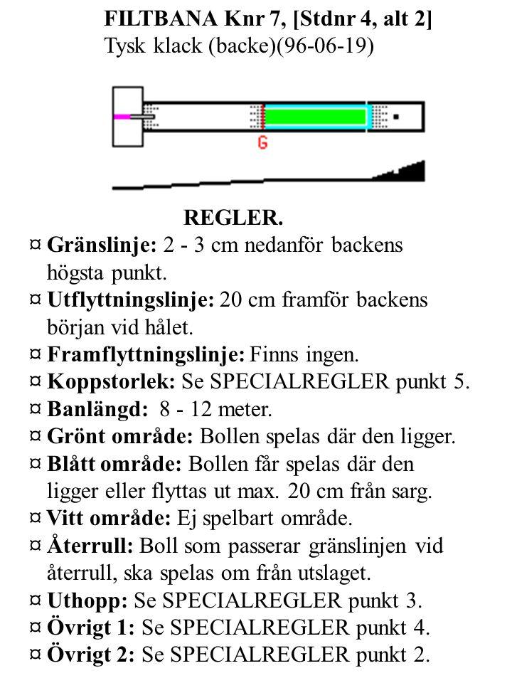 FILTBANA Knr 7, [Stdnr 4, alt 2] Tysk klack (backe)(96-06-19) REGLER.