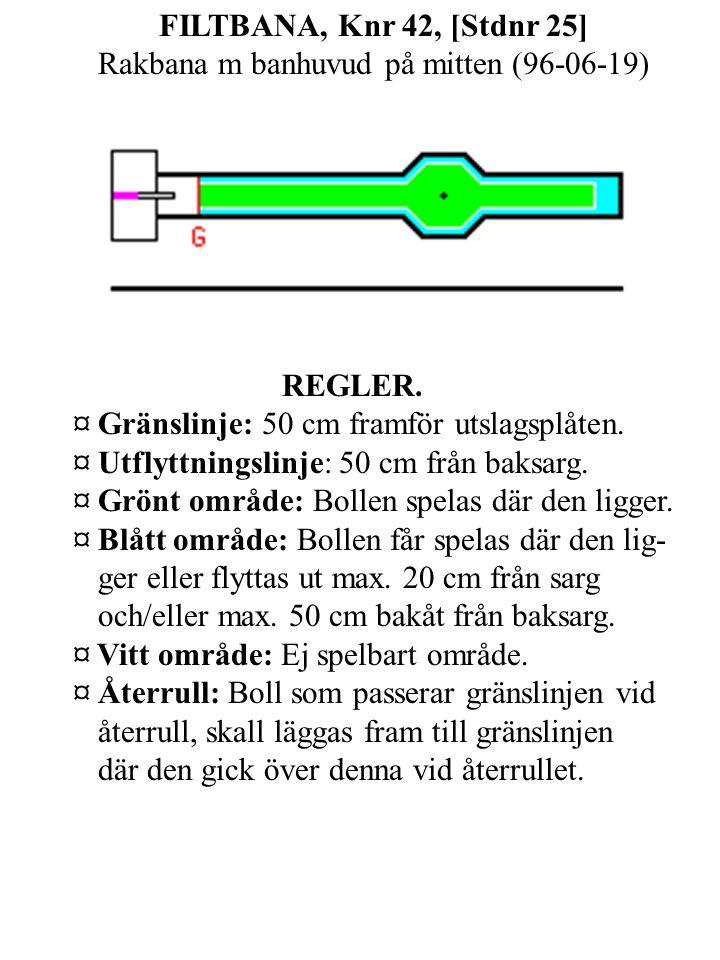 FILTBANA, Knr 42, [Stdnr 25] Rakbana m banhuvud på mitten (96-06-19) REGLER.