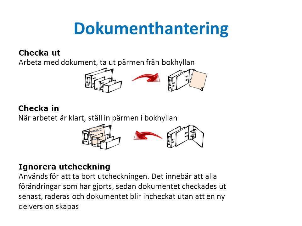 Dokumenthantering Checka ut Arbeta med dokument, ta ut pärmen från bokhyllan Checka in När arbetet är klart, ställ in pärmen i bokhyllan Ignorera utcheckning Används för att ta bort utcheckningen.
