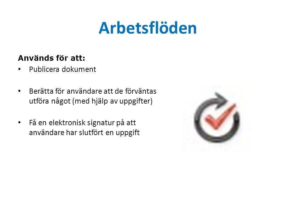 Arbetsflöden Används för att: Publicera dokument Berätta för användare att de förväntas utföra något (med hjälp av uppgifter) Få en elektronisk signatur på att användare har slutfört en uppgift