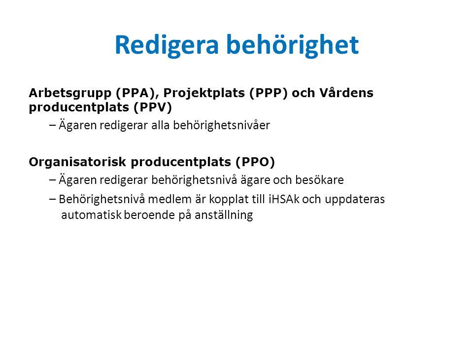 Redigera behörighet Arbetsgrupp (PPA), Projektplats (PPP) och Vårdens producentplats (PPV) – Ägaren redigerar alla behörighetsnivåer Organisatorisk producentplats (PPO) – Ägaren redigerar behörighetsnivå ägare och besökare – Behörighetsnivå medlem är kopplat till iHSAk och uppdateras automatisk beroende på anställning