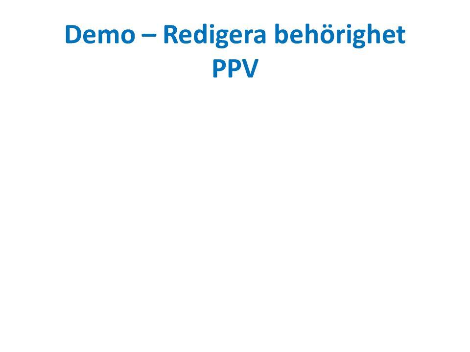 Demo – Redigera behörighet PPV