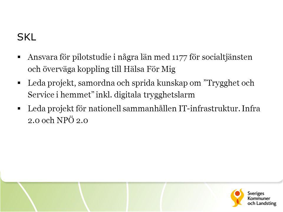 SKL  Ansvara för pilotstudie i några län med 1177 för socialtjänsten och överväga koppling till Hälsa För Mig  Leda projekt, samordna och sprida kunskap om Trygghet och Service i hemmet inkl.