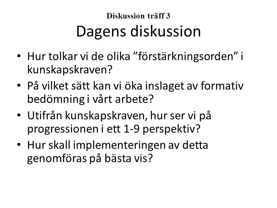 Diskussion träff 3 Dagens diskussion Hur tolkar vi de olika förstärkningsorden i kunskapskraven.