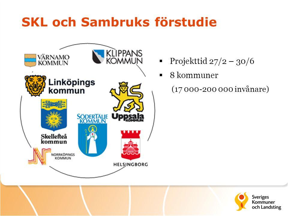 SKL och Sambruks förstudie  Projekttid 27/2 – 30/6  8 kommuner (17 000-200 000 invånare)