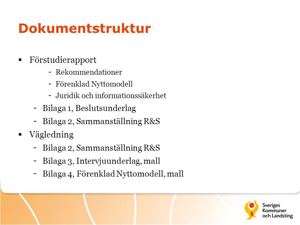 Dokumentstruktur  Förstudierapport - Rekommendationer - Förenklad Nyttomodell - Juridik och informationssäkerhet - Bilaga 1, Beslutsunderlag - Bilaga