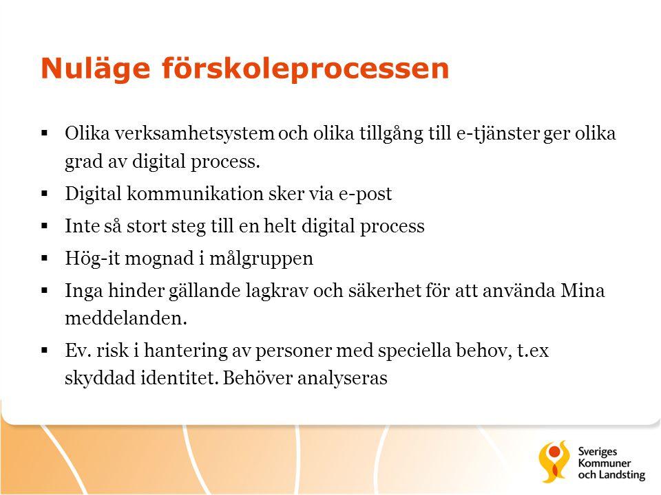  Olika verksamhetsystem och olika tillgång till e-tjänster ger olika grad av digital process.  Digital kommunikation sker via e-post  Inte så stort