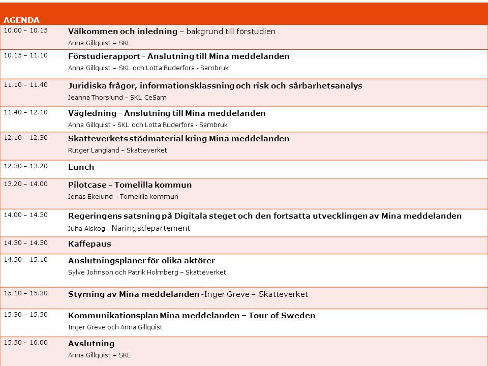 AGENDA 10.00 – 10.15 Välkommen och inledning – bakgrund till förstudien Anna Gillquist – SKL 10.15 – 11.10 Förstudierapport - Anslutning till Mina med