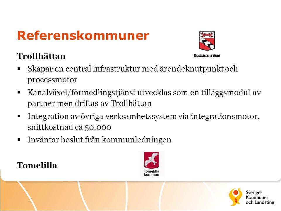 Referenskommuner Trollhättan  Skapar en central infrastruktur med ärendeknutpunkt och processmotor  Kanalväxel/förmedlingstjänst utvecklas som en ti