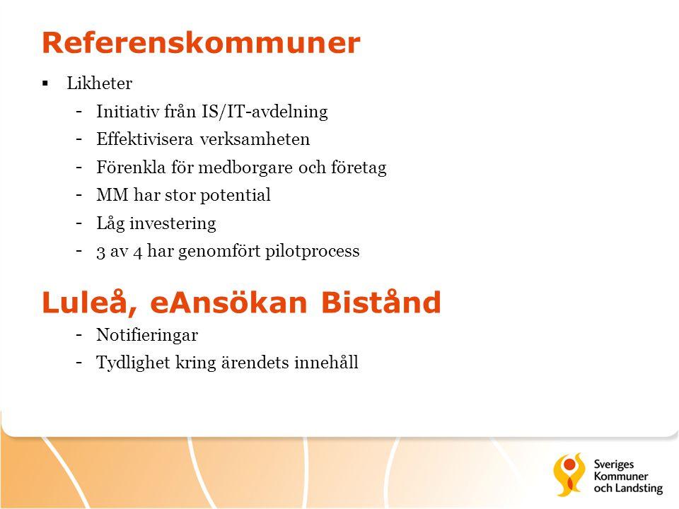 Referenskommuner  Likheter - Initiativ från IS/IT-avdelning - Effektivisera verksamheten - Förenkla för medborgare och företag - MM har stor potentia