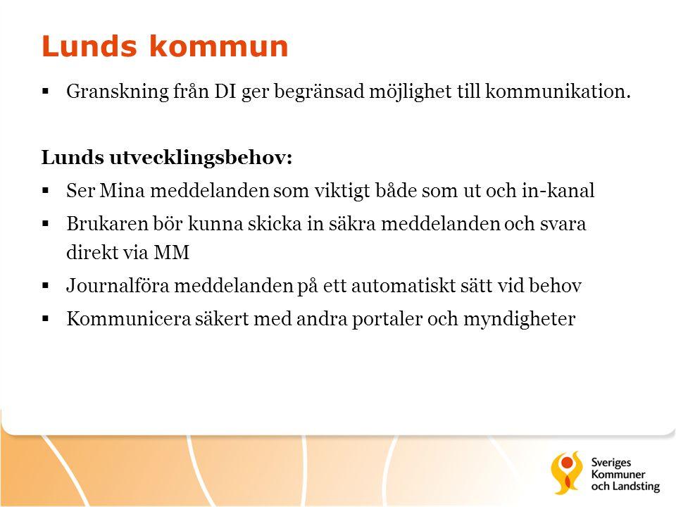 Lunds kommun  Granskning från DI ger begränsad möjlighet till kommunikation. Lunds utvecklingsbehov:  Ser Mina meddelanden som viktigt både som ut o