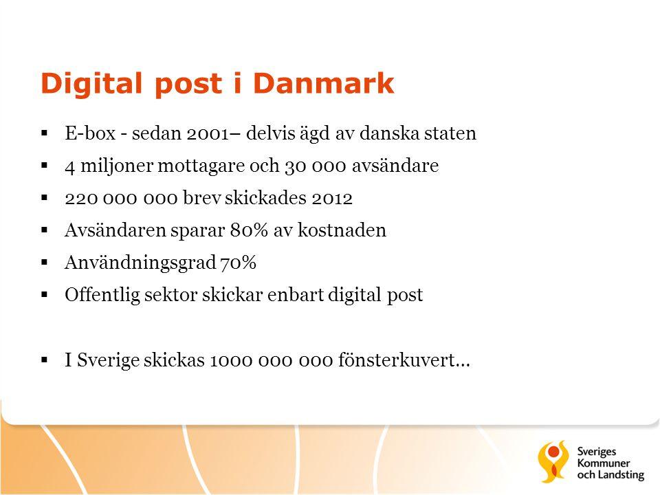 Digital post i Danmark  E-box - sedan 2001– delvis ägd av danska staten  4 miljoner mottagare och 30 000 avsändare  220 000 000 brev skickades 2012